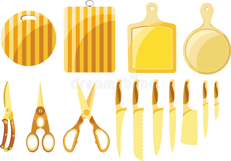 Download A Set Of Knives And Kitchen Stock Vector - Image: 22698826