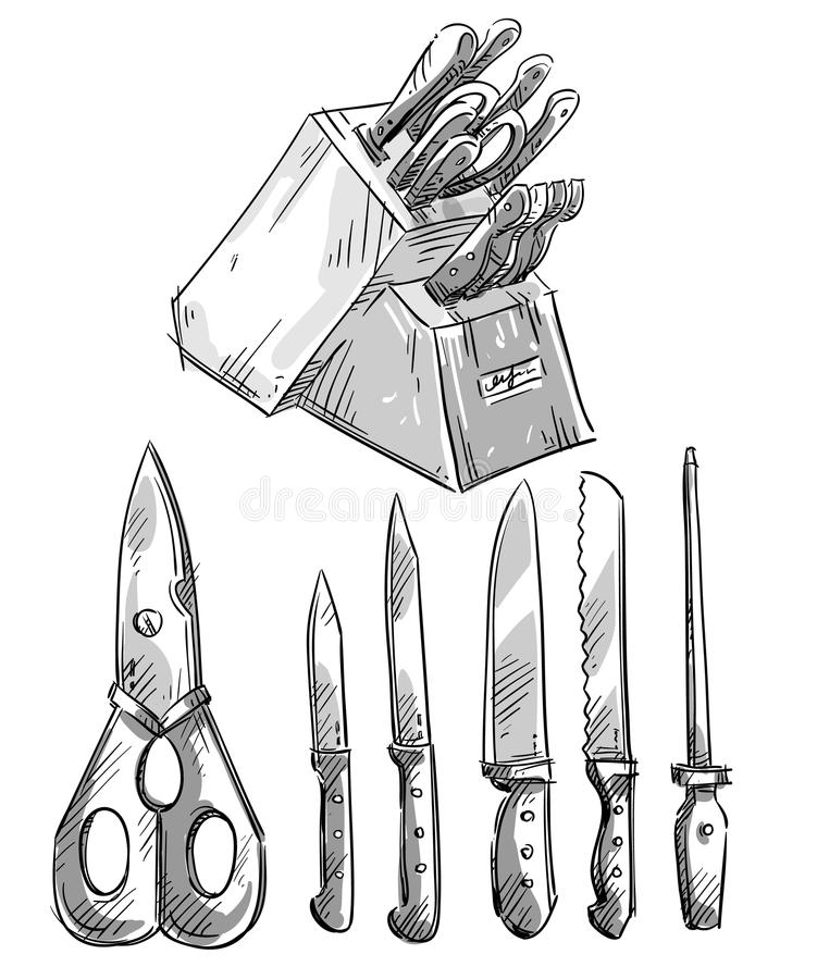 Set Of Knives. Kitchen Utensils. Vector Sketch Stock