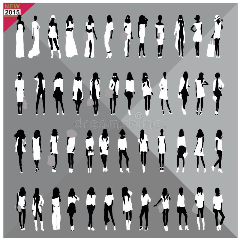 Download Set 48 Kobiet Czerni Sylwetki Z Białymi Płótnami Na Wierzchołku, Editable, Kolekcja Ilustracja Wektor - Ilustracja złożonej z broszura, żakiet: 57672511