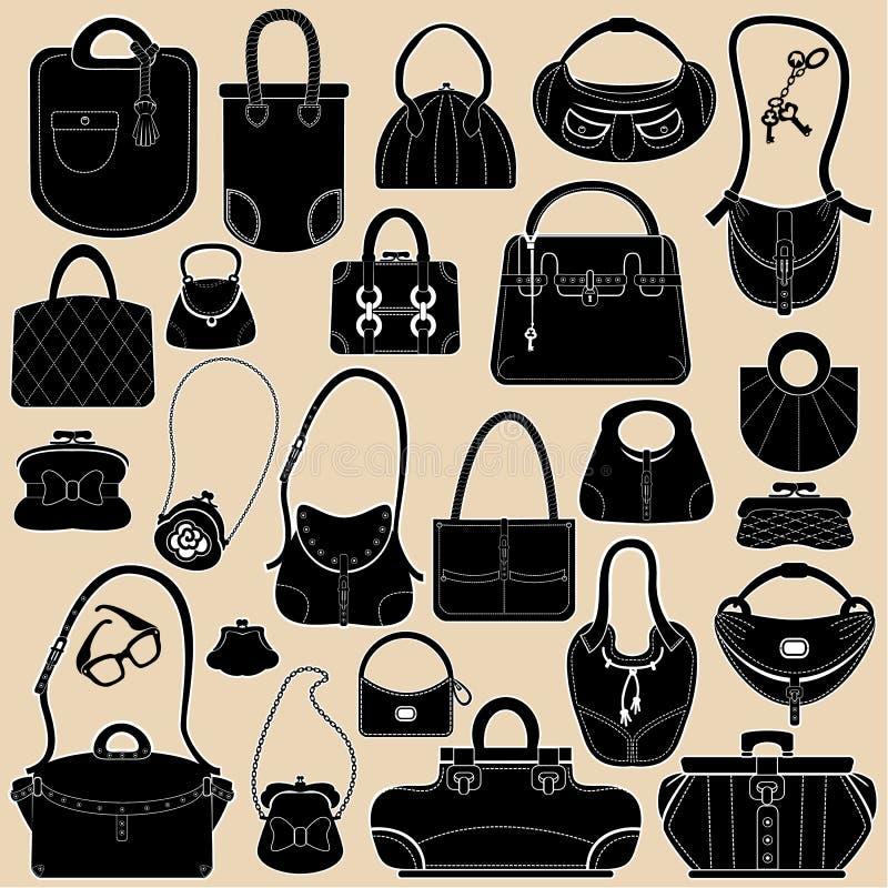Set kobiet torebki i torby royalty ilustracja