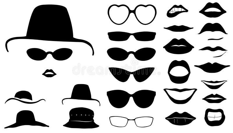 Set kobiet twarze z kapeluszami royalty ilustracja