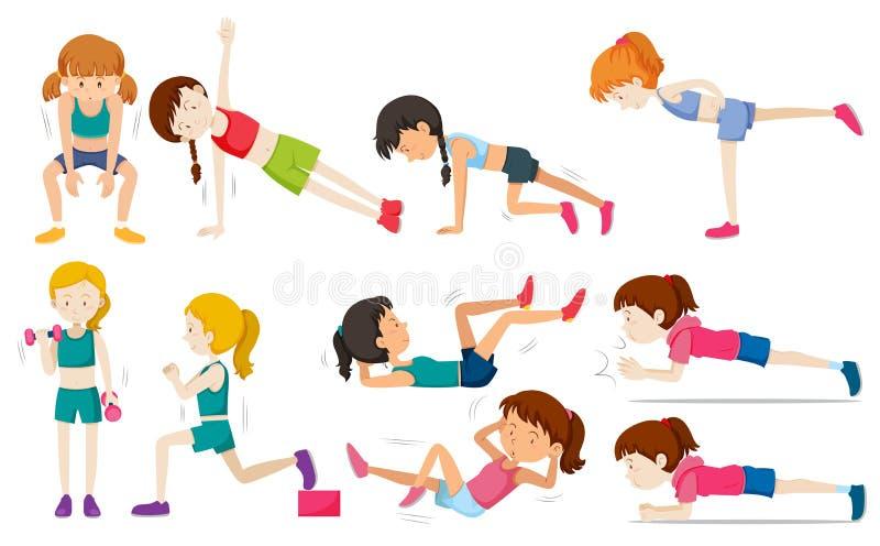 Set kobiety ćwiczenie ilustracja wektor