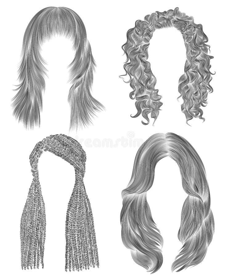 Set kobiety dłudzy hairs czarny ołówkowego rysunku nakreślenie Mody piękna styl afrykańska cornrows krana kędziorów kaskada royalty ilustracja