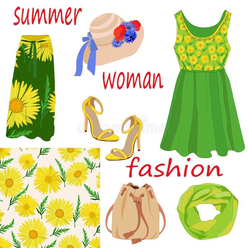 Set kobiety lata mody rzeczy i bezszwowy wzór jaskrawy kolor żółty barwi na białym tle royalty ilustracja