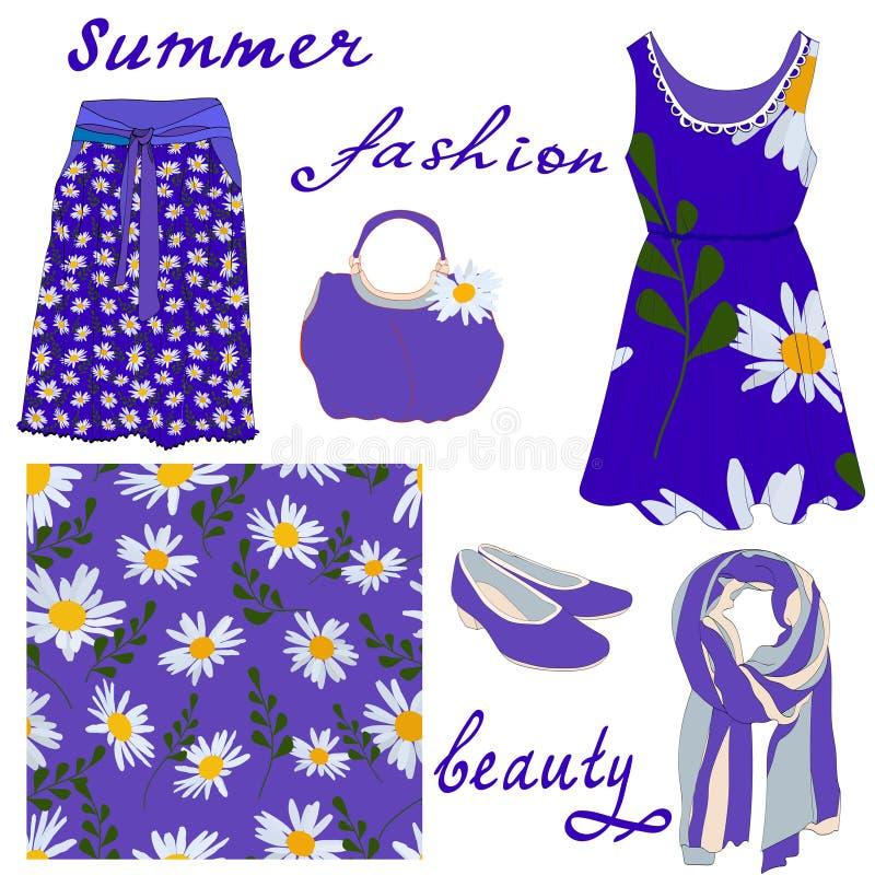 Set kobiety lata mody rzeczy i bezszwowy wzór stokrotki na błękitnym tle ilustracji