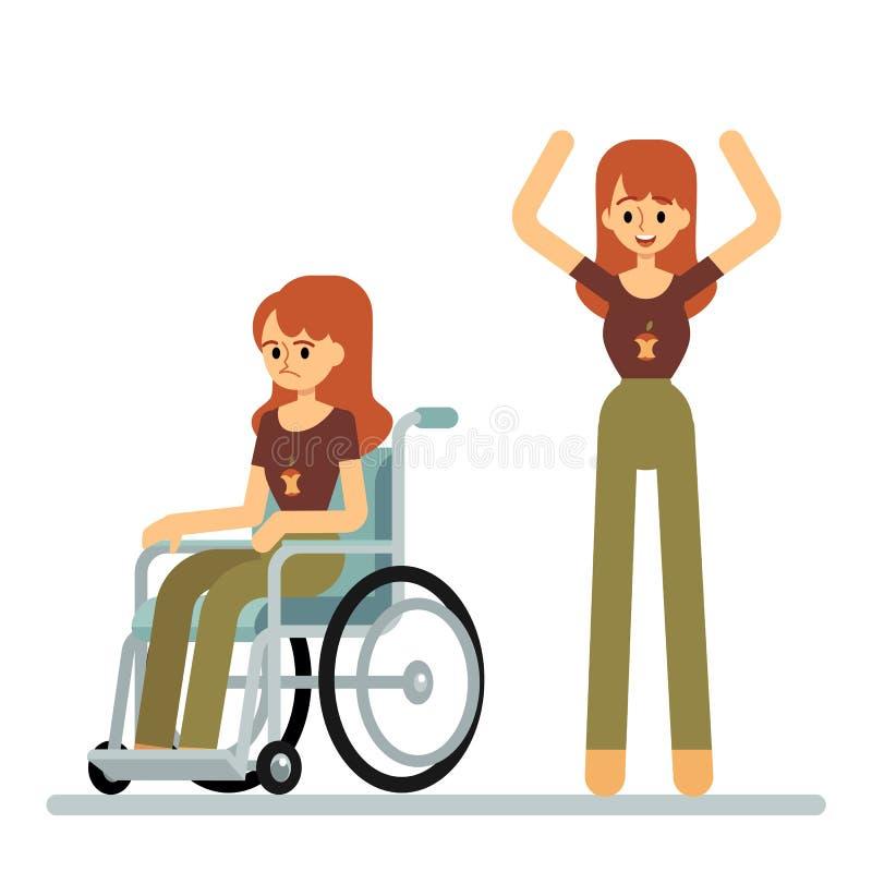 Set kobiety obsiadanie w wózku inwalidzkim i pozycja z nastroszoną ręki kreskówką projektujemy royalty ilustracja
