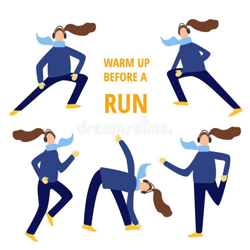 Set kobiety rozciąga nogi i próbuje koronki przed biegać w zimie, płaskiej kreskówki wektorowa ilustracja na bielu ilustracja wektor