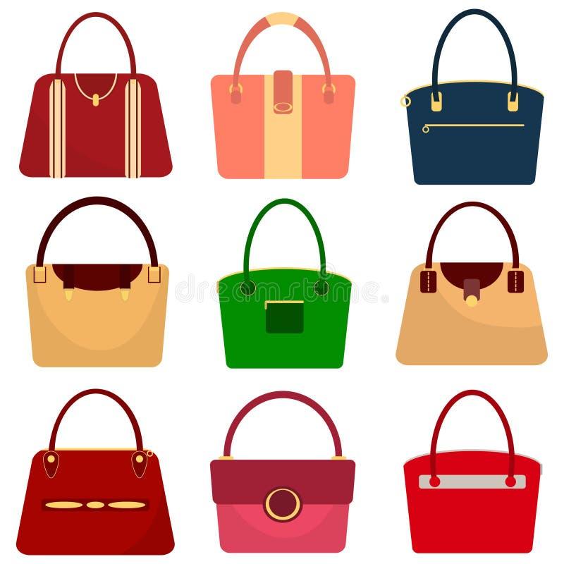 Set kobiety ` s torebki, kobiety ` s torba ilustracji
