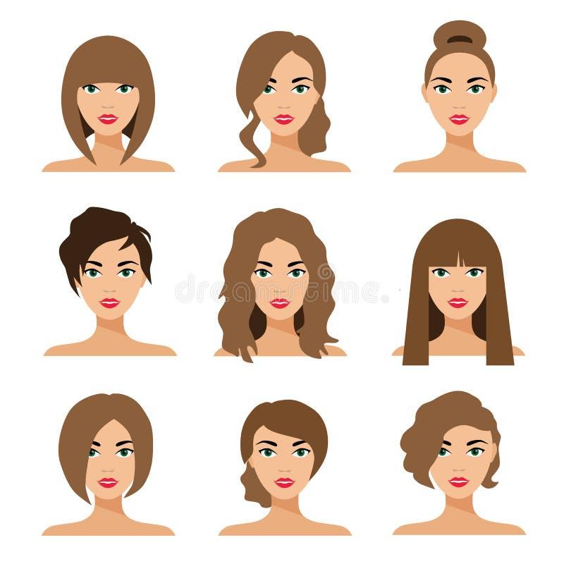 Set kobiety tytułowania mieszkania włosiana ilustracja ilustracji