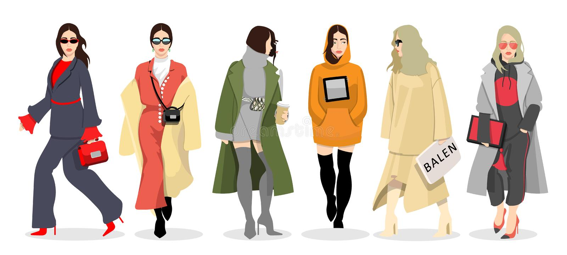 Set kobiety ubierał w elegancki modnym odziewa ilustracja wektor
