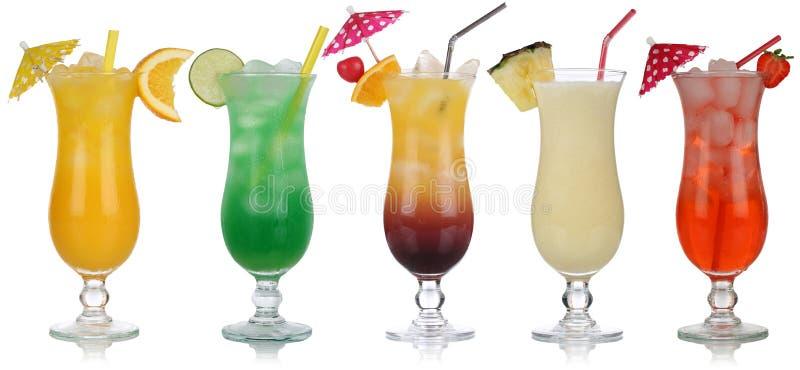 Set koktajle z Pina Colada i Tequila wschodem słońca zdjęcie royalty free