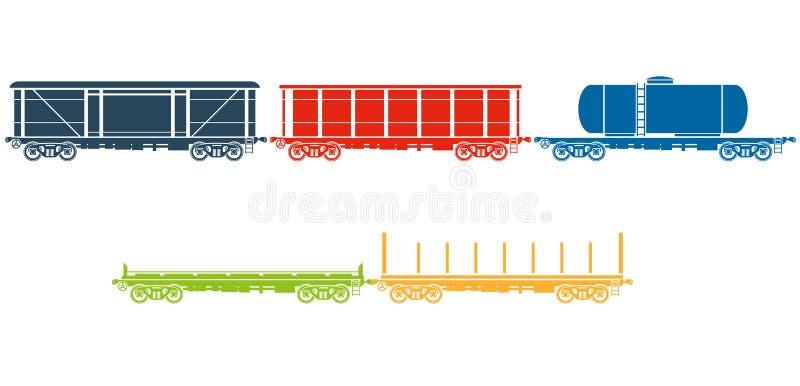Set Kolejowi frachtowi samochody ilustracja wektor