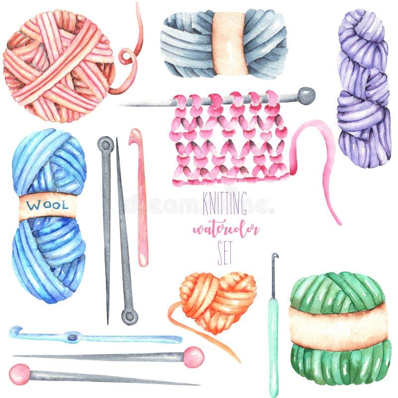 Set, kolekcja z akwarela dziewiarskimi elementami: przędza, dziewiarskie igły i szydełkowi haczyki, royalty ilustracja