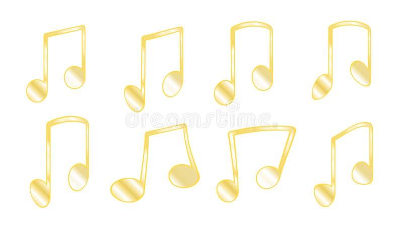 Set 8 kolorów żółtych ziobro złoci dziań lub, grubas linie które łączą muzykalne notatki gdy grupujący zauważa wśrodku bar odizol royalty ilustracja