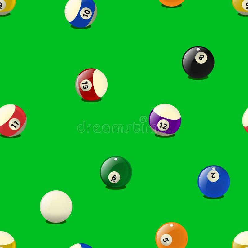 Set kolorów billiards piłki, bezszwowy wzór royalty ilustracja