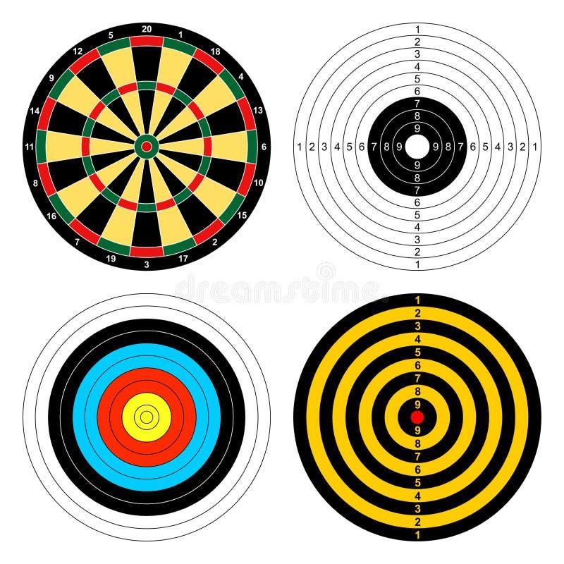 Set kolorów cele dla różnych sport strzałek, łucznictwo, strzela pistolet na białym tle Ikony bawi się cele royalty ilustracja
