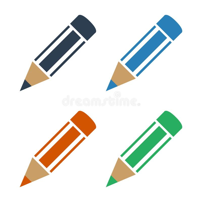 Set kolorów ołówki na białym tle ilustracji