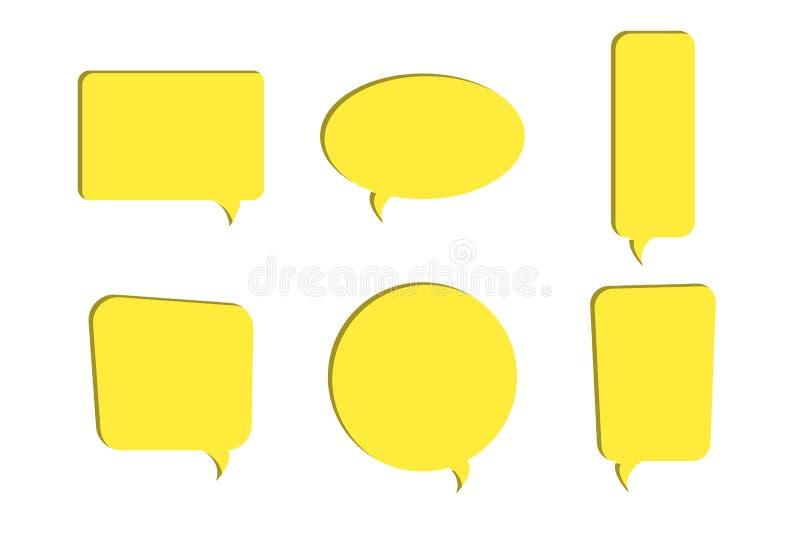 Set kolor żółty mowy bąbla wektoru papier ciąć out ikony ilustracji