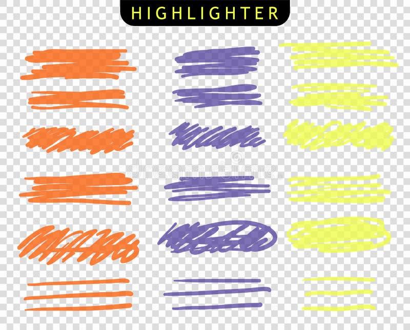 Set kolor żółty, pomarańcze, purpura, uderzenia wykłada markierów Wektorowe g??wnej atrakcji mu?ni?cia linie R?ka rysunku nakre?l royalty ilustracja