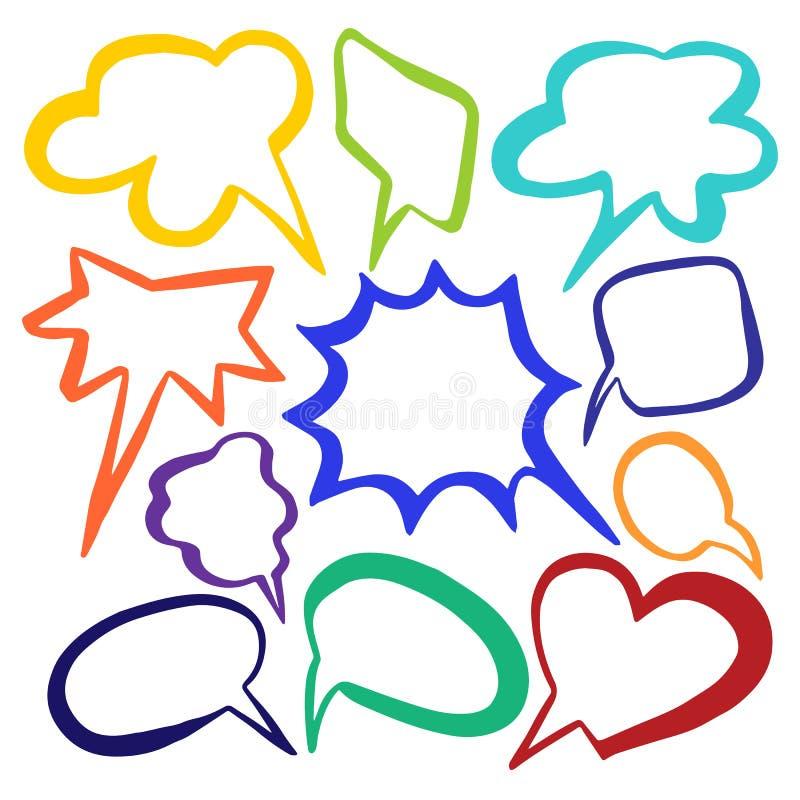 Set kolor chmury mowy bąbel z miejscem dla teksta Kolekcja na białym tle Wektorowy nakreślenie ilustracja wektor