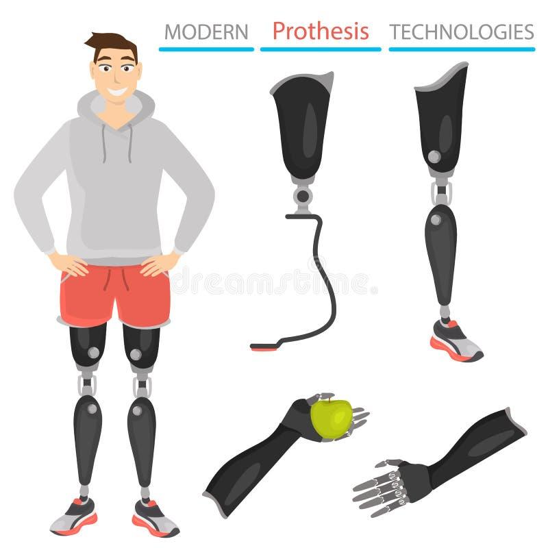 Set kolor ikony prostheses i sztuczne części ciała Facet z nóg prostheses ilustracyjnymi ilustracji