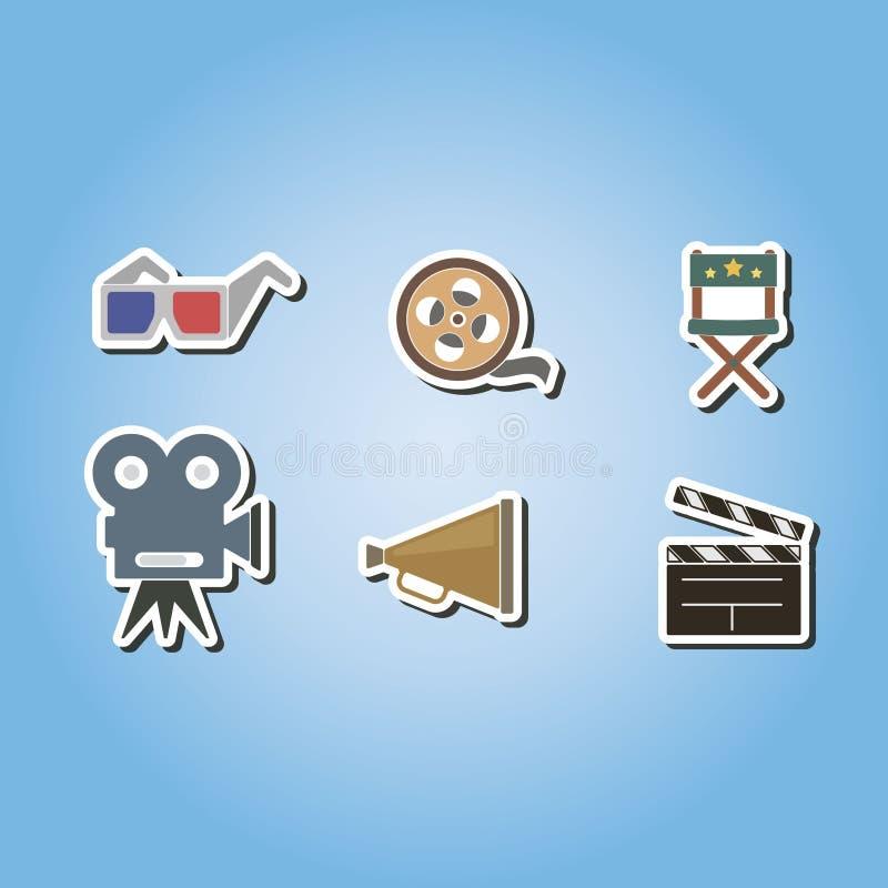 Set kolor ikony z kinowymi symbolami ilustracja wektor