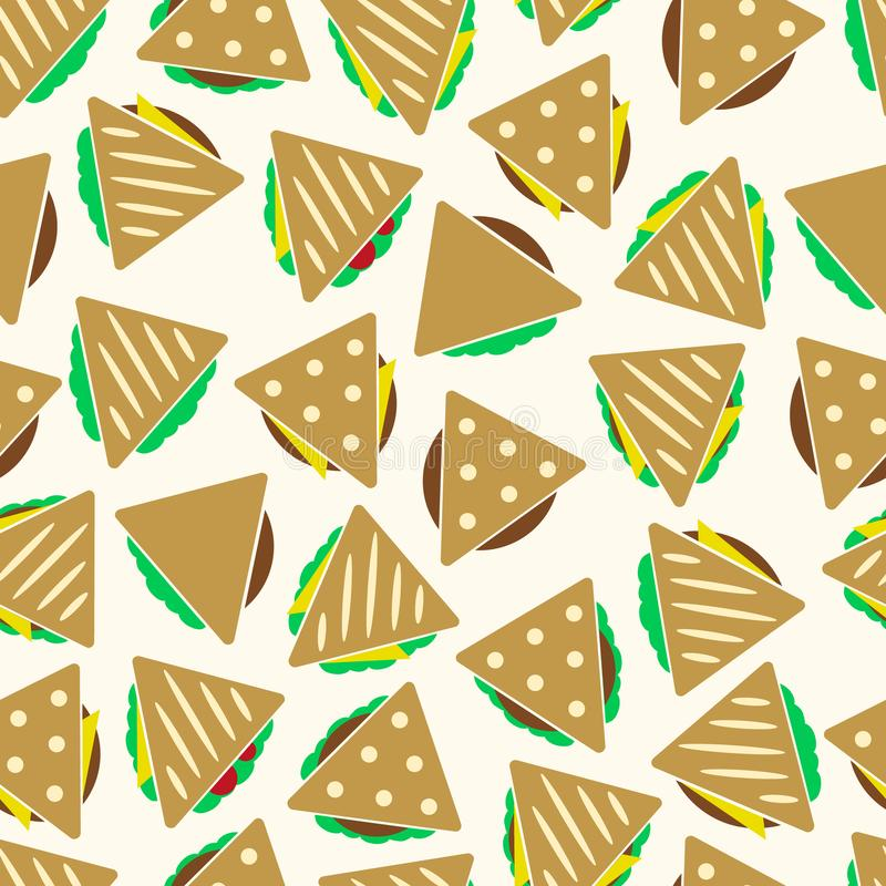 Set kolor kanapki lub tortilla tacos bezszwowy wzór eps10 ilustracji