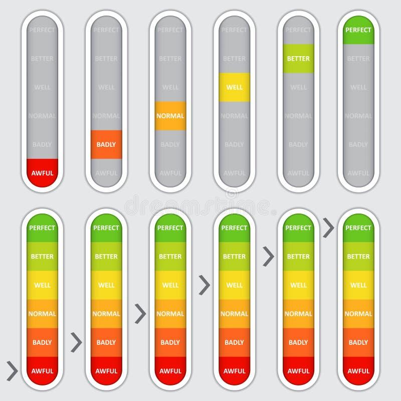 Set kolor kodował postęp, pionowo równy wskaźnik ilustracja wektor