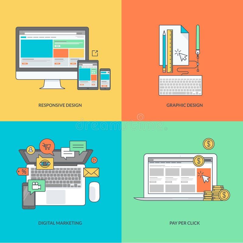 Set kolor linii ikony na temacie sieć i graficzny projekt, interneta marketing royalty ilustracja
