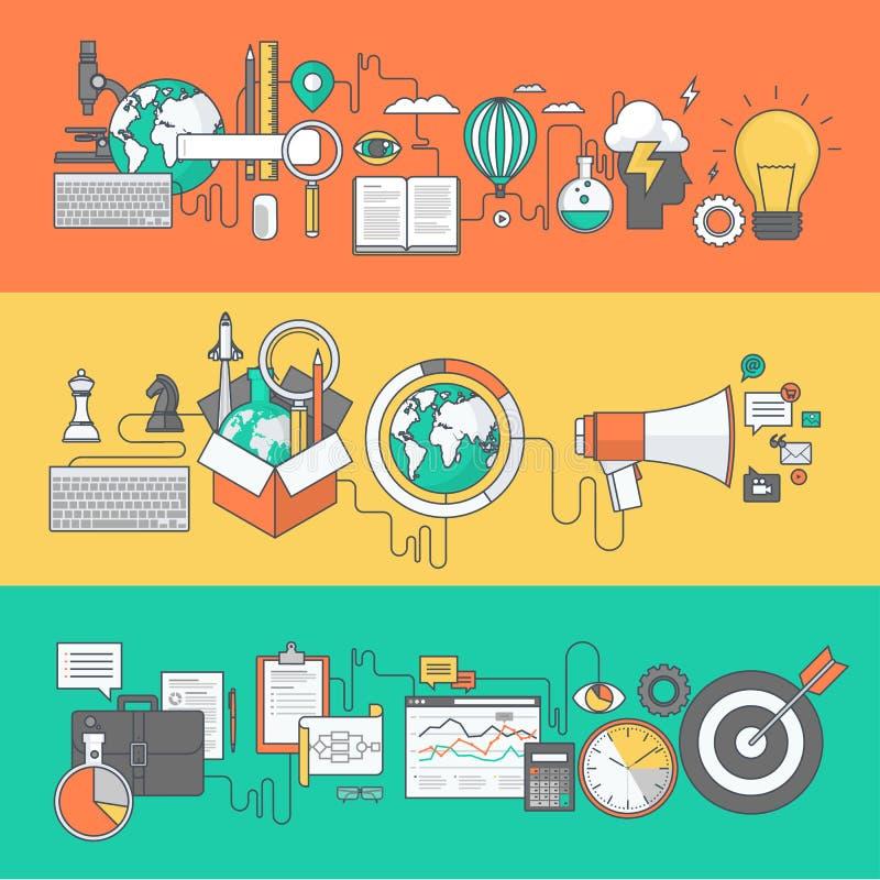 Set kolor linii sztandary dla biznesu, marketing, edukacja ilustracja wektor