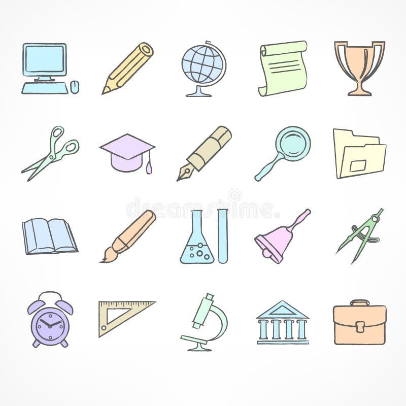 Set kolor liniowe szkolne ikony na bielu ilustracji
