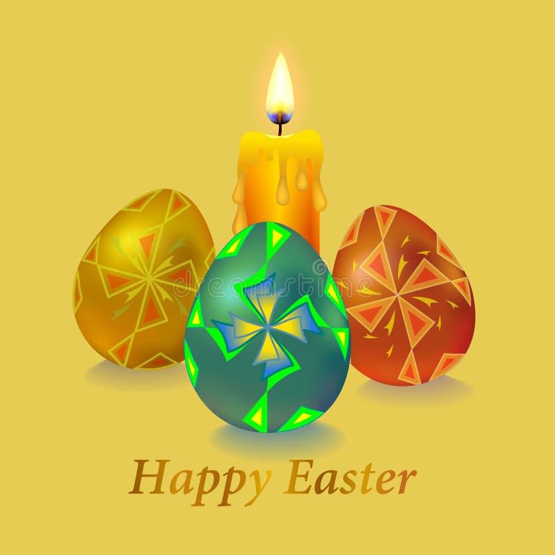 Set kolor?w Wielkanocni jajka z ornamentu wiatraczkiem royalty ilustracja