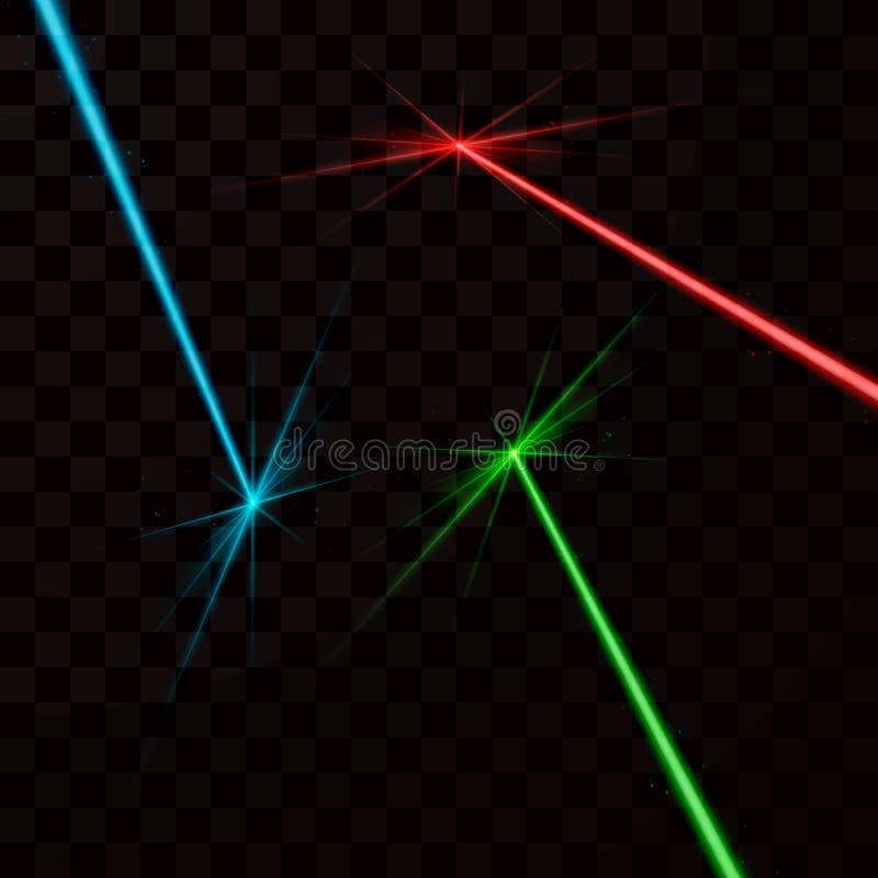 Set kolor wiązki laserowe Wektorowa ilustracja odizolowywająca na przejrzystym tle royalty ilustracja