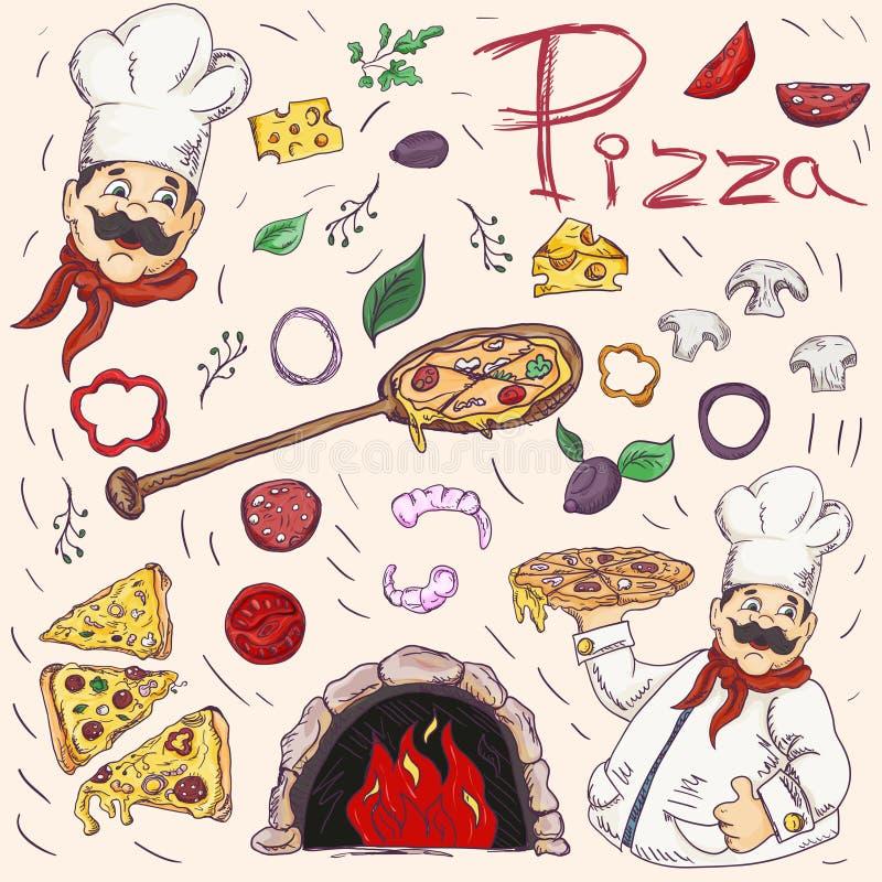 Set kolor z konturowymi ilustracjami na temacie Włoska kuchni pizza, dekoracja dato che projekt w stylu Doodle, ilustracji