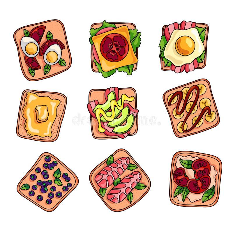 Set kolorowa świeża i smakowita domowej roboty kanapka dla lunchu ilustracji
