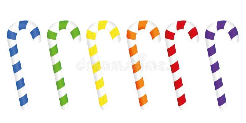 Set kolorowa boże narodzenie cukierku trzcina odizolowywająca na białym backgroun royalty ilustracja