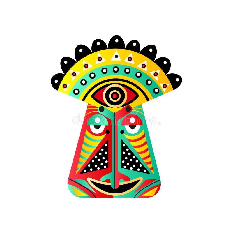 Set kolorowa etniczna maskowa czerwień, zieleń, żółty kolor ilustracja wektor