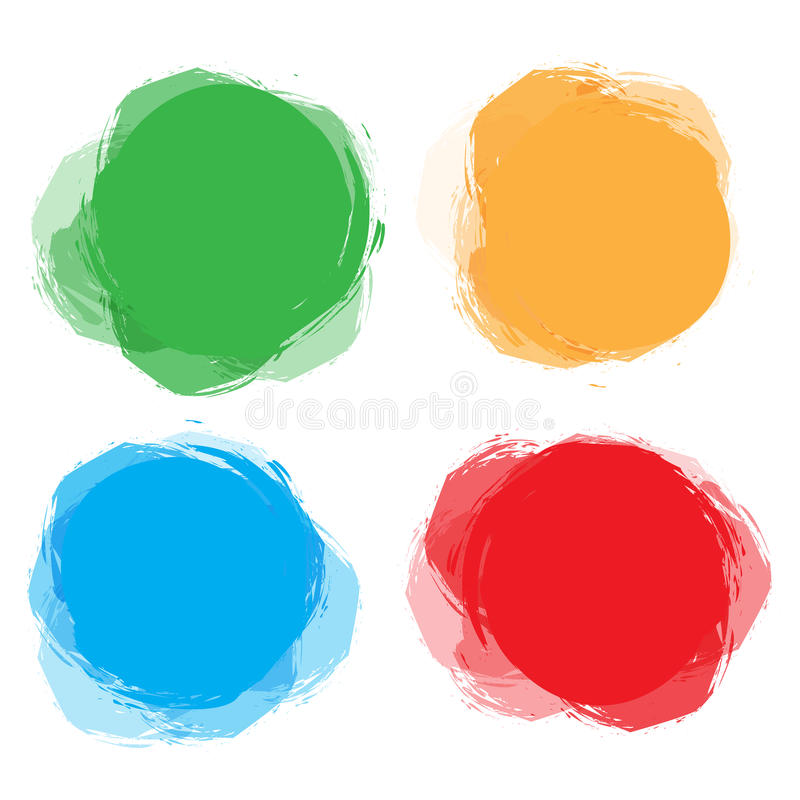 Set kolorowa kurenda, round abstrakcjonistyczni sztandary Szablon dla projekta i pasta teksta Graficzny sztandaru projekt royalty ilustracja