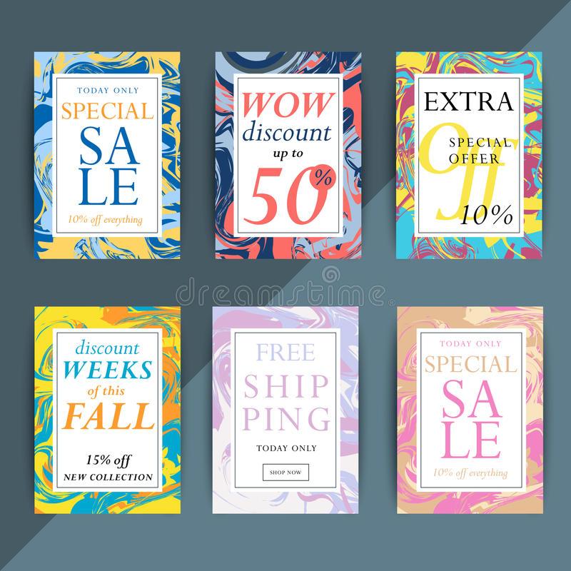 Set kolorowa modna sprzedaż, dyskontowe ulotki i sztandary dla o ilustracja wektor