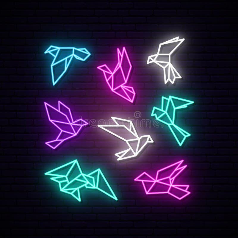 Set kolorowa neonowa geometryczna gołąbka ilustracja wektor