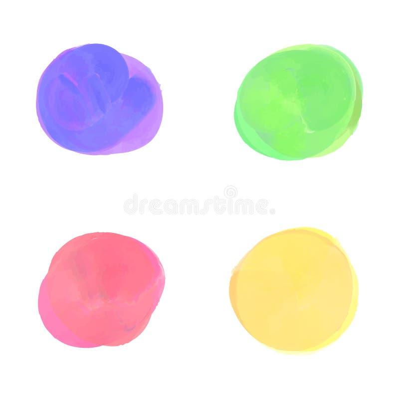 Set kolorowa ręka malujący akwarela wektorowi okręgi kształtuje projektów elementy Akwarela projekta elementy odizolowywający na  fotografia royalty free