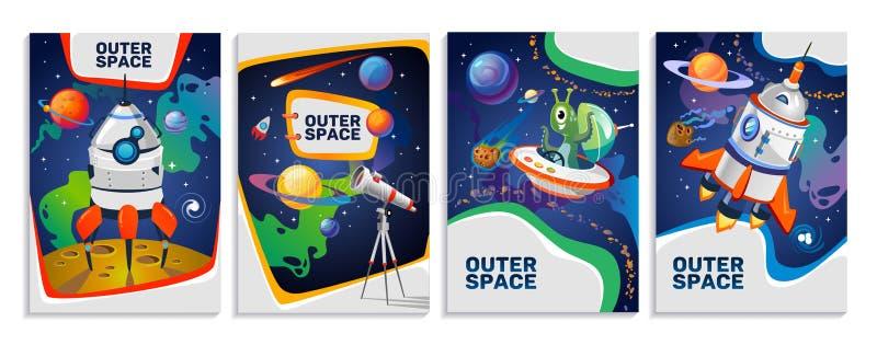 Set kolorowe astronautyczne karty royalty ilustracja