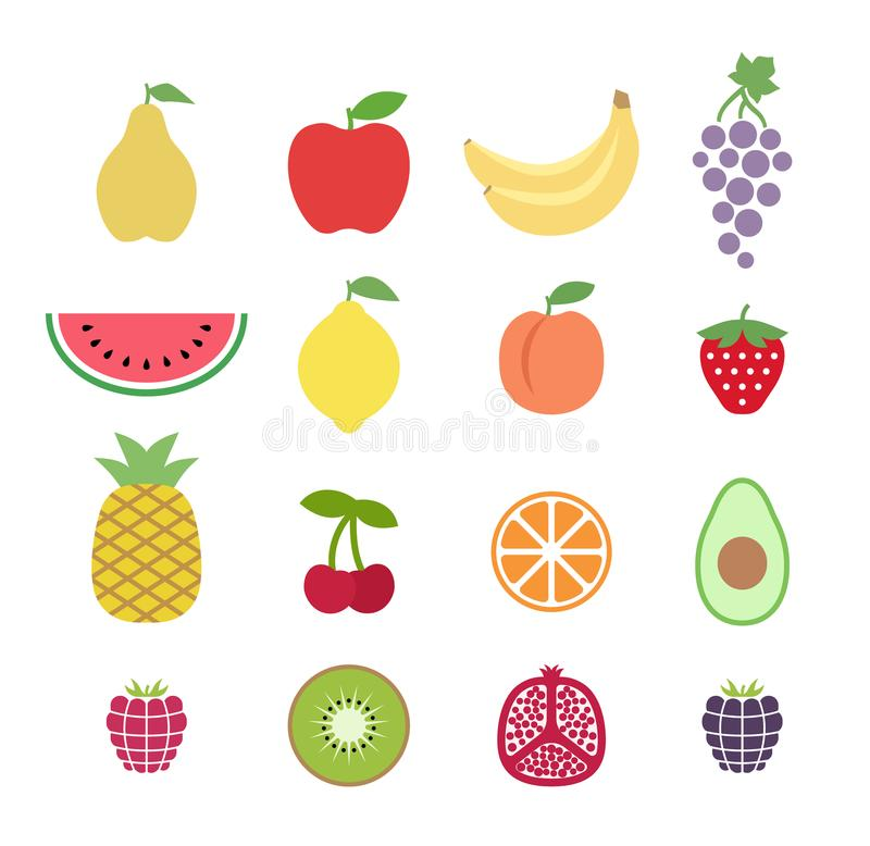 Set kolorowe clipart owoc owocowe glansowane ikony ustawiają Kolekcja klamerki sztuki owoc ikony ilustracji