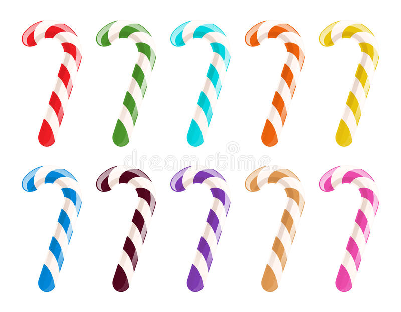 Set kolorowe cukierek trzciny na białym tle ilustracja wektor