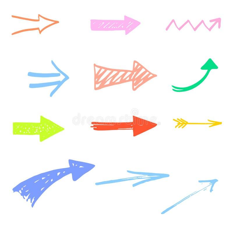 Set kolorowe Doodle nakreślenia strzała, pointery ilustracja wektor