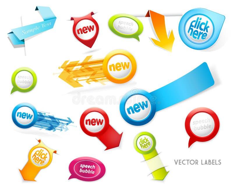 Set kolorowe etykietki, odznaki, mowa gulgocze, wskazujący strzała royalty ilustracja