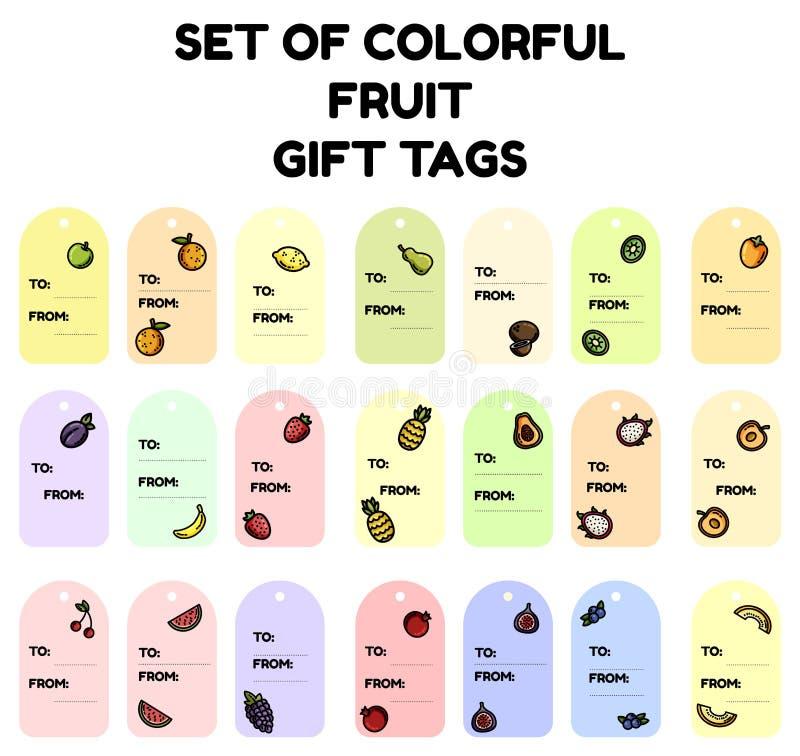 Set kolorowe owocowe prezent etykietki Płaska projekt kolekcja odosobnione owocowe etykietki ilustracja wektor