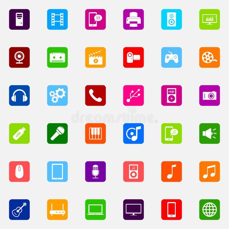 Set kolorowe płaskie medialne ikony ilustracja wektor