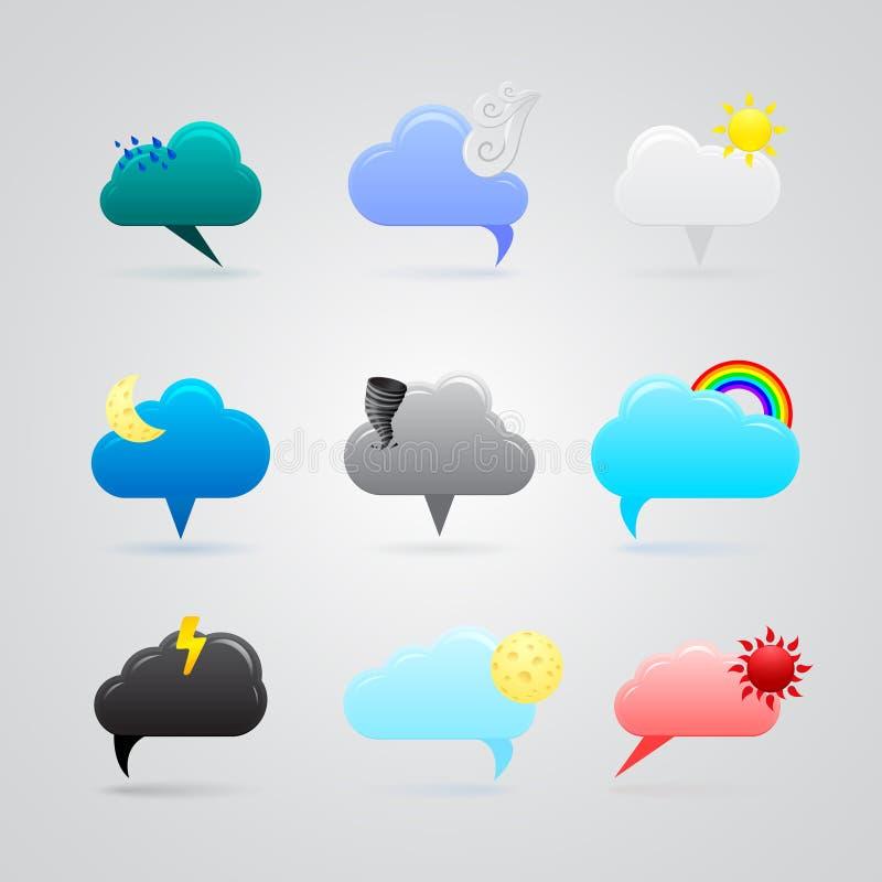 Download Set Kolorowe Pogodowe Ikony Ilustracji - Ilustracja złożonej z błyskawica, temperatura: 28950782