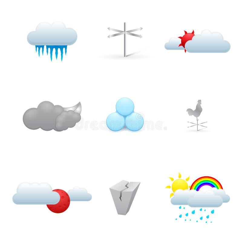 Download Set Kolorowe Pogodowe Ikony Ilustracji - Ilustracja złożonej z depresja, sunrise: 28950787